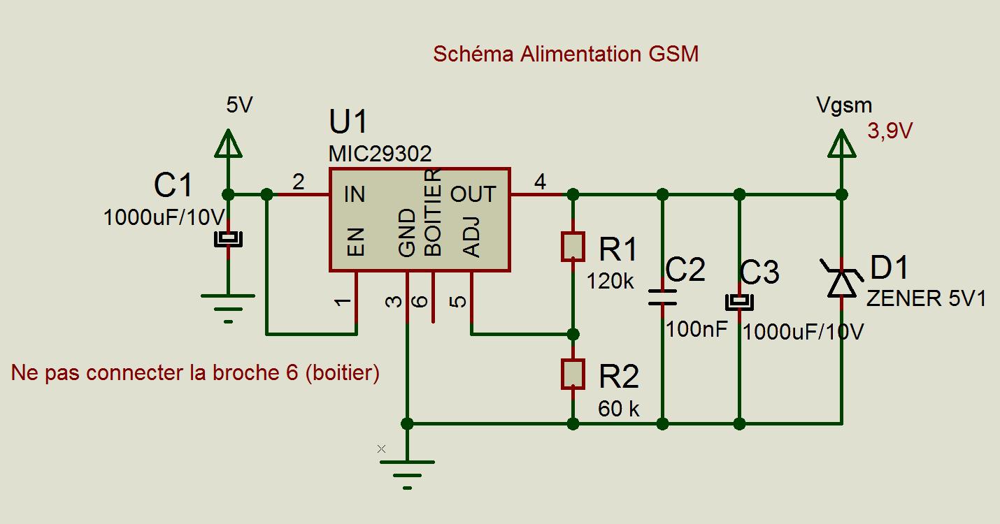 Schéma Alimentation SIM800C